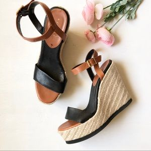 Sisley espadrille wedge leather ankle strap sandal